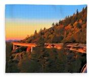 The Linn Cove Viaduct At Sunrise Fleece Blanket