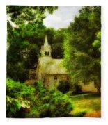 The Little Church On The Corner Fleece Blanket