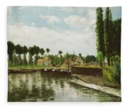 The Lock At Pontoise Fleece Blanket