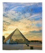 The Louvre At Sunset Fleece Blanket