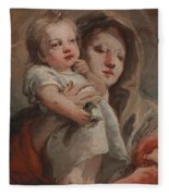 The Madonna And Child With A Goldfinch Fleece Blanket