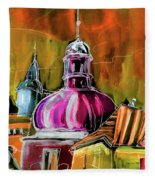 The Magical Rooftops Of Prague 01 Fleece Blanket