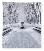 The Mall In Snow Central Park Fleece Blanket