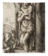 The Man Of Sorrows By The Column With The Virgin And St. John  Fleece Blanket