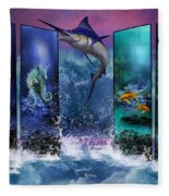 The Marlin And His Sea Friends  Fleece Blanket