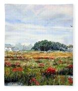 The Marsh In Bloom Fleece Blanket