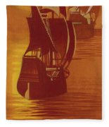 The Mayflower And The Speedwell Leave England In 1620 Fleece Blanket