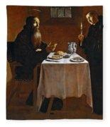 The Meal Of Saint Benedict Of Nurcia Fleece Blanket