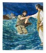 The Miracles Of Jesus Walking On Water  Fleece Blanket