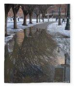 The Mirrored Streets Of Philadelphia In Winter Fleece Blanket