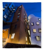 The Mit Stata Center At Night Kendall Square Cambirdge Ma Moon Front Fleece Blanket