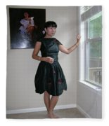The Model And The Painting Fleece Blanket