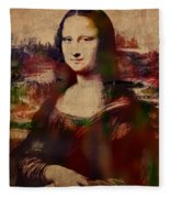 The Mona Lisa Colorful Watercolor Portrait On Worn Canvas Fleece Blanket