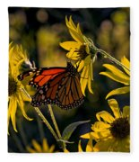 The Monarch And The Sunflower Fleece Blanket