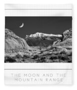 The Moon And The Mountain Range Poster Fleece Blanket