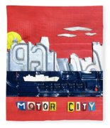 The Motor City - Detroit Michigan Skyline License Plate Art By Design Turnpike Fleece Blanket