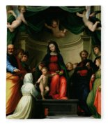 The Mystic Marriage Of St Catherine Of Siena With Saints Fleece Blanket