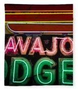 The Navajo Lodge Sign In Prescott Arizona Fleece Blanket