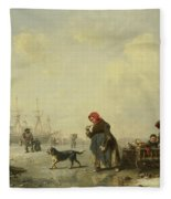 The Newa At Saint Petersburg In Winter Fleece Blanket