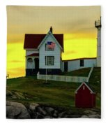 The Nubble Cape Neddick Lighthouse In Maine At Dawn Fleece Blanket