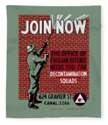 The Office Of Civilian Defense Needs You - Wpa Fleece Blanket