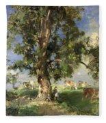 The Old Ash Tree Fleece Blanket