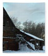 The Old Barn Winter Scene  Fleece Blanket