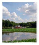 The Old Boat On The Mississippi River Fleece Blanket