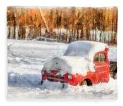 The Old Farm Truck In The Snow Fleece Blanket