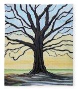 The Stained Old Oak Tree Fleece Blanket