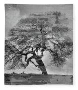 The Old Oak Tree Standing Alone  Fleece Blanket