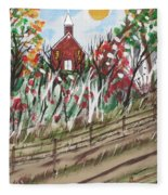 The Old Red Church Fleece Blanket
