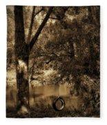 The Old Tire Swing Fleece Blanket