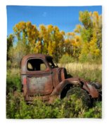 The Old Truck  Chama New Mexico Fleece Blanket