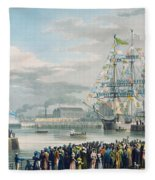 The Opening Of Saint Katharine Docks Fleece Blanket