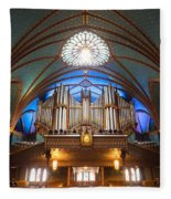 The Organ Inside The Notre Dame In Montreal Fleece Blanket