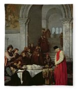 The Painter Luca Signorelli Standing By The Body Of His Rival's Dead Son Fleece Blanket