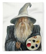 The Painting Wizard Fleece Blanket