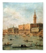 The Palace And The Molo From The Basin Of San Marco Fleece Blanket