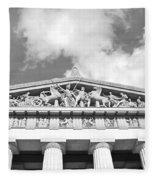 The Parthenon In Nashville Tennessee Black And White 2 Fleece Blanket