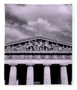 The Parthenon In Nashville Tennessee Black And White Fleece Blanket