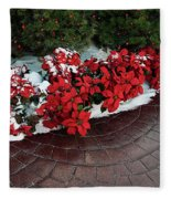 The Path To Christmas - Poinsettias, Trees, Snow, And Walkway Fleece Blanket