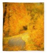 The Pathway Of Fallen Leaves Fleece Blanket