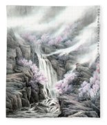 The Peach Blossoms In The Mountains Fleece Blanket