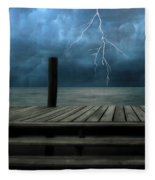 The Pier And The Storm Fleece Blanket