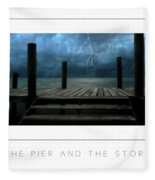 The Pier And The Storm Poster Fleece Blanket