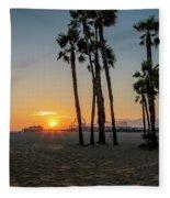 The Pier At Sunset Fleece Blanket