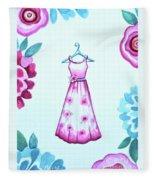 The Pink Floral Dress Fleece Blanket