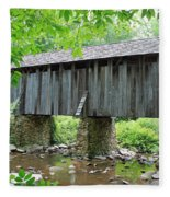 The Pisgah Covered Bridge Fleece Blanket