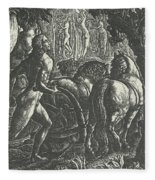 The Ploughman Christian Ploughing The Last Furrow Of Life Fleece Blanket